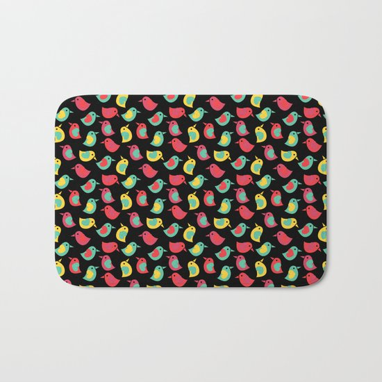 Happy Birds on Black Bath Mat