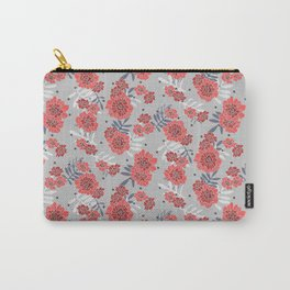 Crimson and Silver Floral Carry-All Pouch
