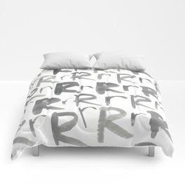 Watercolor R's - Grey Gray Comforters