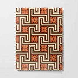 Deco Greek Key, Brown, Beige and Rust Metal Print