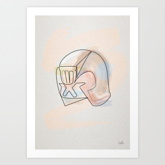 One line Dredd Helmet Art Print