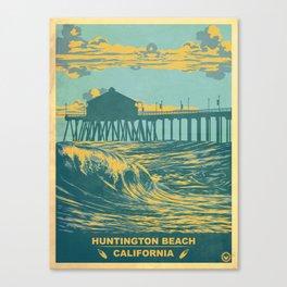 Vintage Huntington Beach Poster Canvas Print