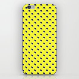Navy Blue on Electric Yellow Stars iPhone Skin