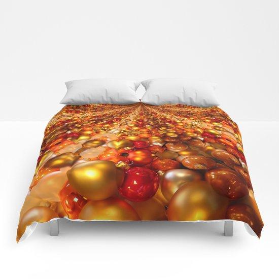 Sparkling golden Christmas balls  Comforters