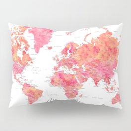 "Adventure Awaits watercolor world map in hot pink and orange, ""Tatiana"" Pillow Sham"