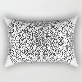 Gem Succulent Mandala D - Black Rectangular Pillow