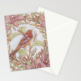 Magnolia And Marigold Wreath With Songbird Stationery Cards