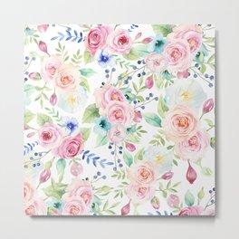 Blush pink watercolor elegant roses floral Metal Print