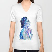 queen V-neck T-shirts featuring Queen by Andreea Maria Has