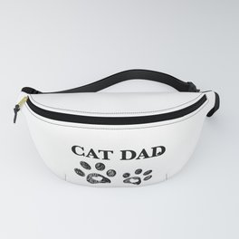 Cat Dad text. Doodle cat paw print and heart Fanny Pack