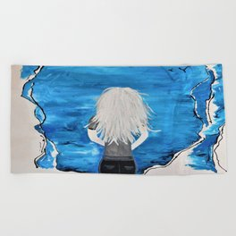 Enticing Interlude. Illustrated for Author Michelle Mankin. Girl Sunset Blue Blonde Sky Beach Towel