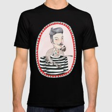He is a cat person! Black MEDIUM Mens Fitted Tee