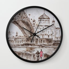 meeting in red #4 Wall Clock