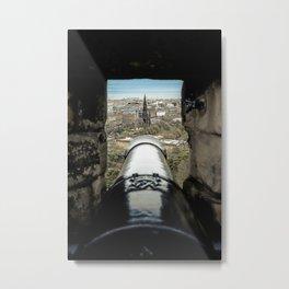 scott monument from Edinburgh castle gun Scotland Metal Print
