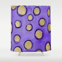gold dots Shower Curtains featuring Dots (Purple & Gold) by HollyJonesEcu