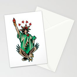 Vintage tattoo Lady Liberty Stationery Cards