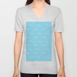 Sky blue yellow geometrical doodle zentangle pattern Unisex V-Neck
