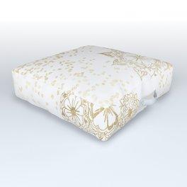 Hand drawn white and gold mandala confetti motif Outdoor Floor Cushion