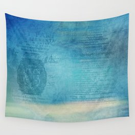 Decorative Blue Writing Texture Vintage Wall Tapestry