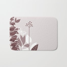 Pantone Red Pear Botanicals and Butterfly Graphic Design 2 Bath Mat