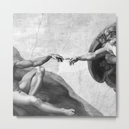 Black and White Creation of Adam Painting by Michelangelo Sistine Chapel Metal Print