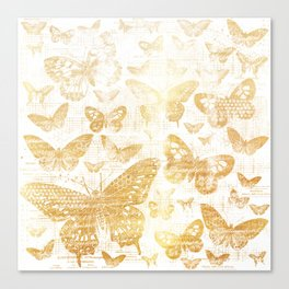 Rustic gold butterfly pattern Canvas Print