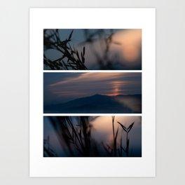 Sunset on the mountains of Barcelona Art Print