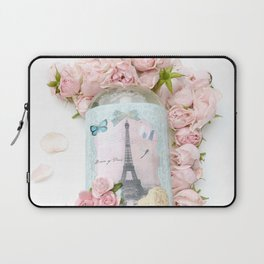 Shabby Chic Pink Roses Eiffel Tower  Laptop Sleeve