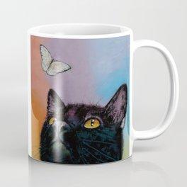 Black Cat Butterfly Coffee Mug