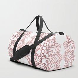 Modern geometric white rose faux gold floral mandala Duffle Bag