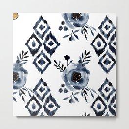 Indigo Watercolor Roses & Rhombus Metal Print