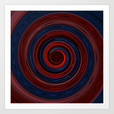 Re-Created Spin Painting (Midnight & Burgundy) Art Print
