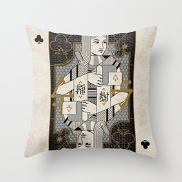 Heretic Playing Cards - Queen of Clubs Throw Pillow