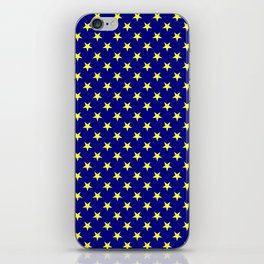 Electric Yellow on Navy Blue Stars iPhone Skin