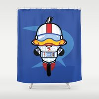 gizmo Shower Curtains featuring Hello Gizmo by Hoborobo