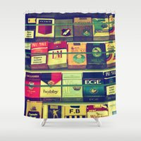 cigarette Shower Curtains featuring cigarette collection by gzm_guvenc