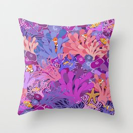 Block Party on the Reef - Clownfish Anemone Marine Sea Life Coral Throw Pillow