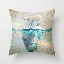 Polar Bear Adrift Throw Pillow