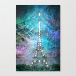 Illuminated Pop Art Eiffel Tower | Graphic Style Canvas Print