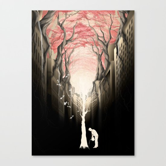 Revenge of the nature II: growing red forest above the city. Canvas Print