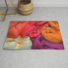 Orange, Red And Purple Wool Yarns Rug