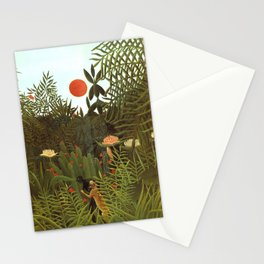 """Henri Rousseau """"Virgin forest (Jungle) with setting sun"""" Stationery Cards"""