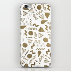 Retro abstract geometrical faux gold white 80'spattern iPhone Skin