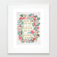 gold Framed Art Prints featuring Little & Fierce by Cat Coquillette