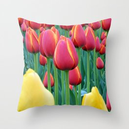 Tulips Red and Yellow Throw Pillow