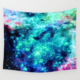 Colorful Teal Galaxy Sparkle Stars Wall Tapestry