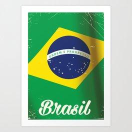 Brasil Nation flag travel poster Art Print