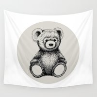 teddy bear Wall Tapestries featuring Teddy Bear by Nicole Cioffe