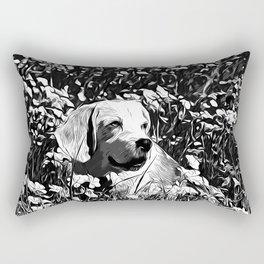beagle dog flower field vector art black white Rectangular Pillow