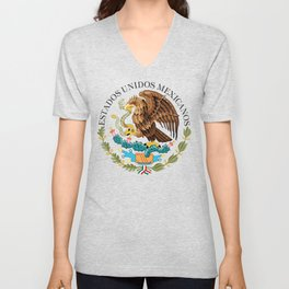 Close up of the Seal from the flag of Mexico on Adobe red background Unisex V-Neck
